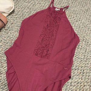 Lace front halter bodysuit